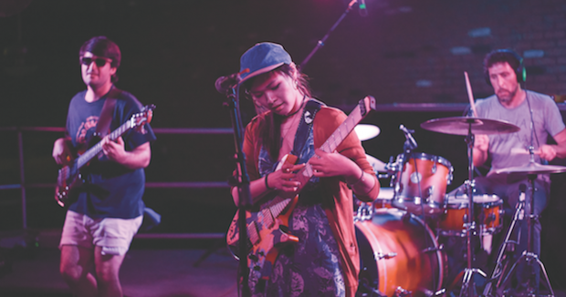 KEEP IT SIMPLE: Covet's bassist, David Adamiak (left), and drummer, Keith Grimshaw (right), show restraint—never overplaying, so as to allow Yvette Young's guitar work to shine. Photo: Liz Cabrerra.