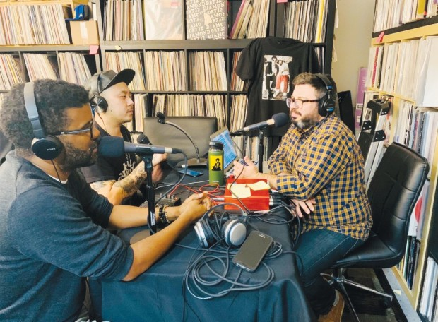 THE POD: From left, Demone Carter, David Ma and Nate LeBlanc record an episode of 'Dad Bod Rap Pod.' (photo credit: Albert Jenkins)