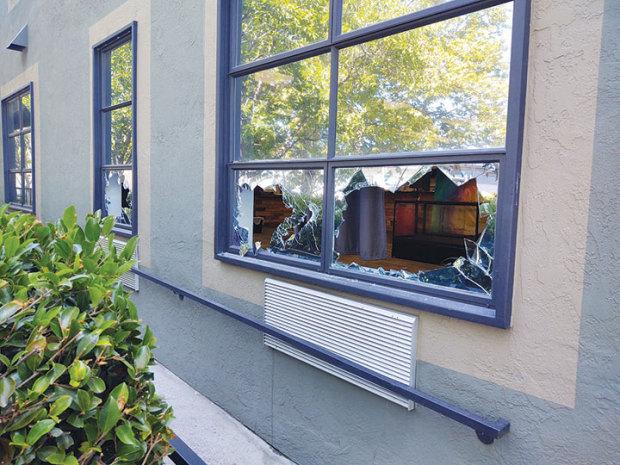 SHATTERED: Windows were shot out of Oakland cannabis dispensary Magnolia Wellness. Photo Courtesy of Magnolia Wellness.
